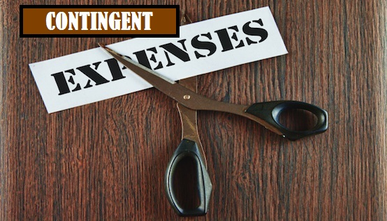 Scissors cutting the word expenses written on a paper strip, over wooden background