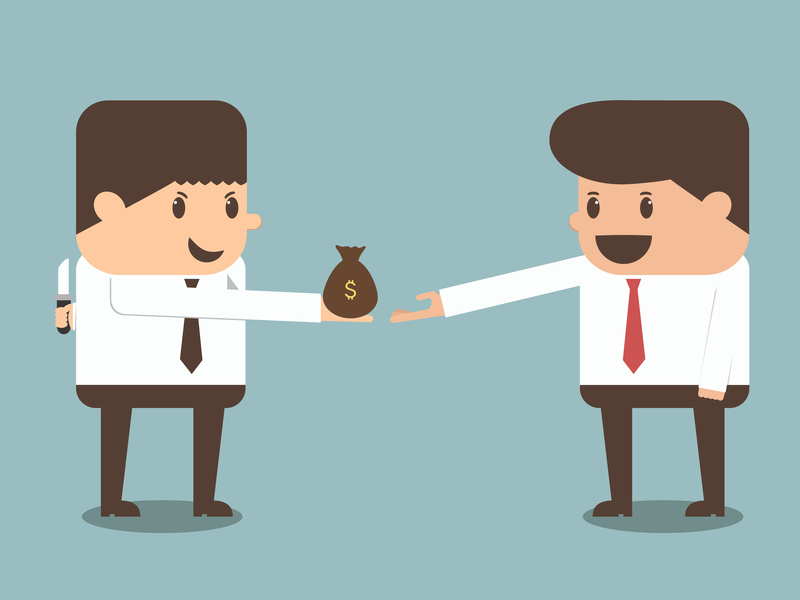 tricky businessman giving money to other businessman vector eps10